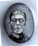 Frankenstein's Monster painted on rock by Nevuela