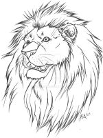 Lion Tattoo Lineart version by WickedRyu
