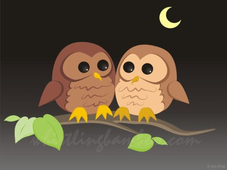Owl Couple by whistlingbamboo