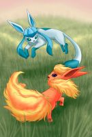 Flareon and Glaceon by laeity