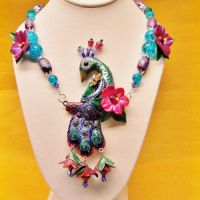 OOAK Peacock Necklace by CreativeCritters