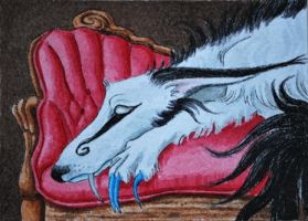 Kuolema Lounging on the Settee by waughtercolors
