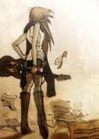 anime girl with guitar by violonsong