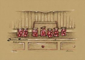 Small tomatoes in jars by dh6art
