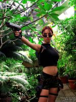 Lara Croft cosplay with gun by TanyaCroft