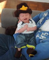 Sheriff/Cowboy Hat and Booties -Set by CardinalCrocheting