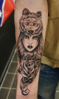Wolf headdress Tattoo by Nevermore-Ink