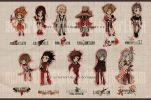 Final Fantasy chibis by NetherworldQueen