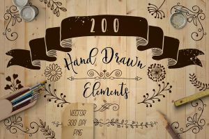 200 Decorative Elements Vector, PNG by HelgaHelgy