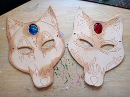 Fire and Ice Wolf leather masks - WIP by Masktastic