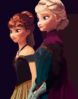 Elsa and Anna at the Coronation - digital by TheWritingDragon