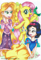Fluttershy, Snow White and Rapunzel by MeganLovesAngryBirds