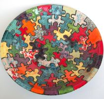 Large Bowl with Puzzle Design by jmnpottery