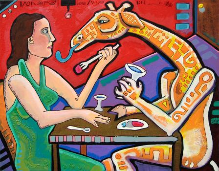 Dinner with Bacchus Giraffe by skip-noah