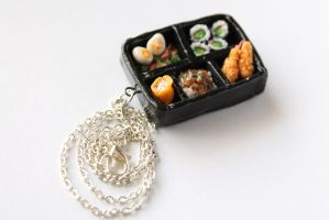 Polymer Clay Bento Box Necklace, Miniature Food by ChroniclesOfKate