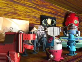 3D Vintage Space Toys by sicklilmonky