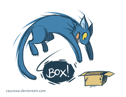 Cat Vs. Box by caycowa