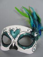 Custom Teal Day of the Dead Heart Masquerade Mask by maskedzone