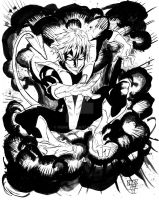 X-men's Nightcrawler black and white by nork