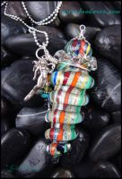 Ocean Prisms - Glass Lampwork Bottle Pendant by andromeda
