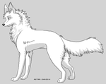 Fox-wolf lineart by twistedCaliber