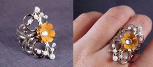 Yellow flower filigree ring by AngelElementsEtsy