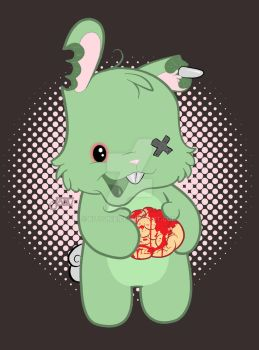Zombie Bunny Wants Brains by Kitsunie