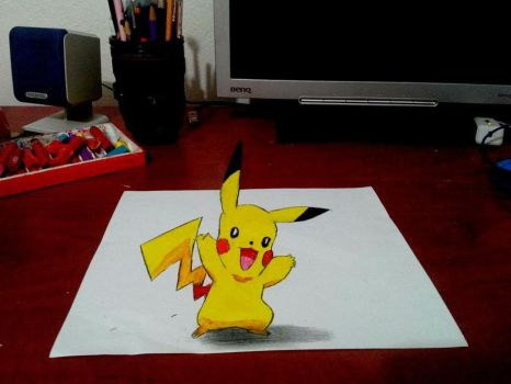 3D Drawing Art - Pikachu by vexilloid
