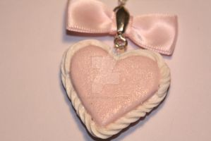 Kawaii Heart Necklace w/Pink Satin Bow and Shimmer by ClayConfectionary