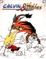 Calvin, Ushio, Tora and Hobbes by crokittycats