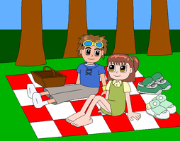 A Digimon Picnic Date by Gamekirby