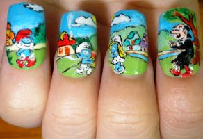 The Smurfs nail art by smamz