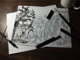 Batman Family - Detailed Inking (W.I.P.) by J-Skipper