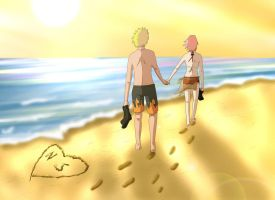 Narusaku: Vacation Walk by Celious