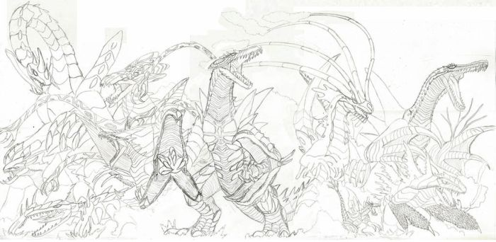 Auragon and 9 Monsters Sketch Preview by WoodZilla200
