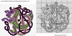 Celtic Hippocampus Knot X-stitch by Astraan