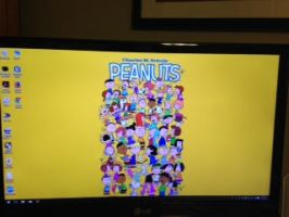 My computer screen with Peanuts wallpaper by dth1971
