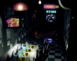 Freddy's Wonderland hallway to the gaming area by FreddyFredbear