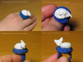 Sleeeping kitty ring by lovebiser