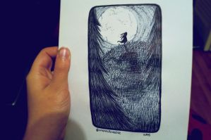 Inktober #13   Look at the Moon by just-caro