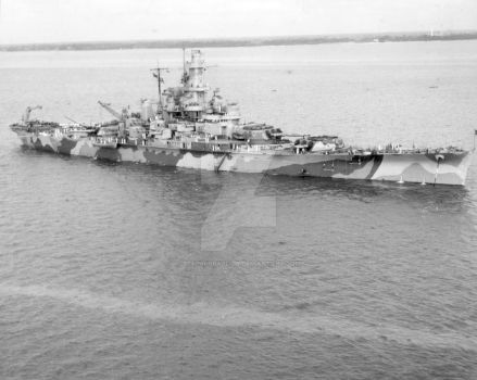 U.S.S. INDIANA (BB-58) 08 SEP 1942  Hampton Roads by StephenBarlow