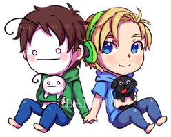 Chibi Cryaotic and Pewdiepie by ibahibut