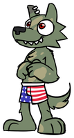 Max in patriotic shorts by Goronic