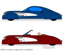 Retro style coupe and roadster by artluvr4life