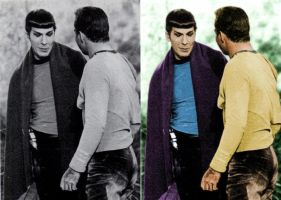 Colorized Spock and Kirk by SpockGlocksRocks