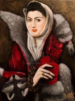 [Oil on Canvas] A Lady with Raccoon Fur Wrap by SAK-SOON