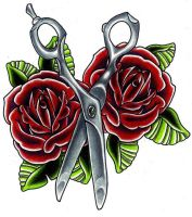 Shears and Roses by LarcDEAR
