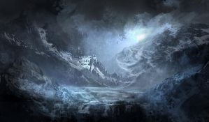 Speed Painting- Night Mountain by GeorgeLovesyArt