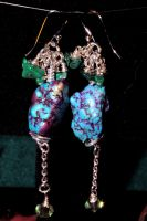 Blue Nugget Earrings by JANunnoArt