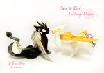Nox e Lux, Silverwing and Goldwing Dragons by rosepeonie